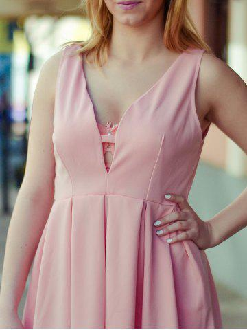 Latest Fashion Plunging Neck Sleeveless Solid Color Zippered Women's Dress - L PINK Mobile