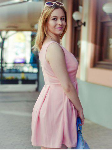 Affordable Fashion Plunging Neck Sleeveless Solid Color Zippered Women's Dress - S PINK Mobile