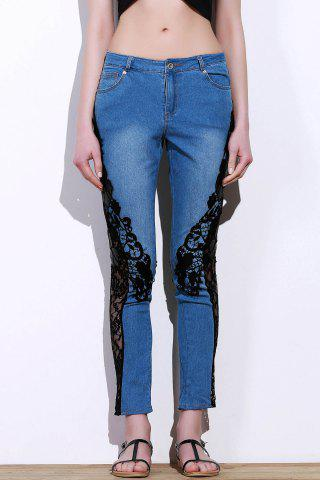 Stylish Mid-Waisted Lace Embellished See-Through Women's Jeans - BLUE AND BLACK - M