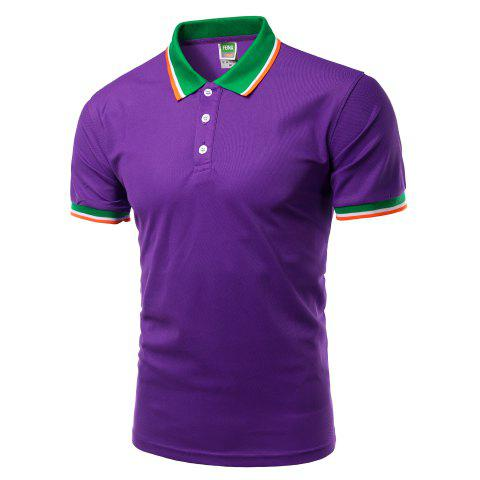 Discount Color Block Splicing Design Turn-Down Collar Short Sleeve Polo T-Shirt For Men - PURPLE S Mobile