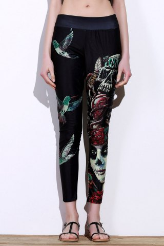 Discount Active Elastic Waist Bird And Skull Print Slimming Women's Pants - ONE SIZE(FIT SIZE XS TO M) BLACK Mobile