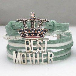 Letter Pattern Crown Layered Weaved Friendship Bracelet