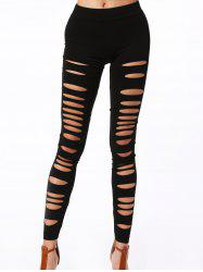 Stylish Solid Color Hollow Out High Elasticity Slimming Women's Leggings - BLACK