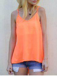 Sexy Strappy Backless Criss-Cross Solid Color Chiffon Top For Women - ORANGE L