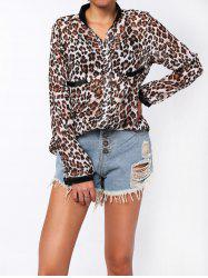 Single-Breasted Leopard Print Long Sleeve Stand-Up Collar Women's Shirt