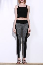 Active Stretchy Black and Gray Spliced Skinny Women's Pants - BLACK AND GREY L