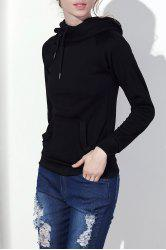 Stylish Hooded Long Sleeve Drawstring Solid Color Women's Hoodie - BLACK