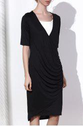 Sexy Black V-Neck Half Sleeve Side Zippered Bodycon Dress For Women - BLACK 3XL
