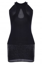 High Neck Cut Out Sleeveless Club Dress - BLACK