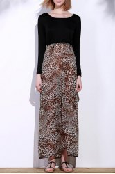 Long Sleeve Leopard Print Maxi Dress Cheap Shop Fashion Style With ...