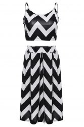Stylish Spaghetti Strap Tank Top + High-Waisted Wave Print Skirt Women's Twinset - WHITE AND BLACK