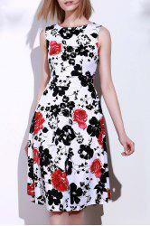 Retro Style Round Neck Sleeveless Floral Print Women's Vintage Tea Dress