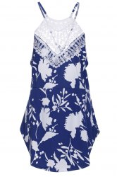 Chic Round Collar Sleeveless Floral Print Backless Women's Dress - BLUE AND WHITE