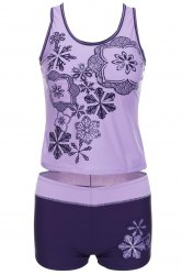 Stylish Scoop Neck Printed Two-Piece Swimsuit For Women -
