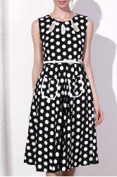 Vintage Round Collar Polka Dot Print Sleeveless Dress For Women -