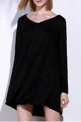 Simple Style Black V-Neck Long Sleeve Loose Mini Dress For Women - BLACK