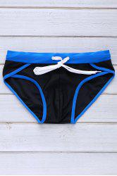 Color Block Sexy Lace-Up Briefs Swimming Trunks For Men - BLACK
