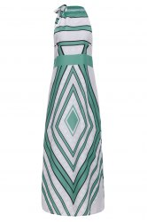 Fashionable Round Collar Paisely Print Sleeveless Maxi Dress For Women -