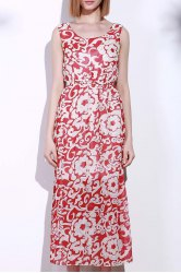 Bohemian Style Printed Sleeveless Porcelain Maxi Dress For Women - RED
