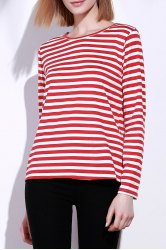 Casual Round Collar Stripes Print Long Sleeve T-Shirt For Women - RED L