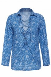 Stylish Turn-Down Collar Long Sleeve Printed Hollow Out Women's Blouse - COLORMIX S