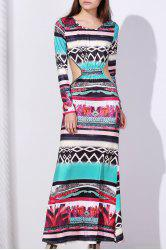 Maxi Back Cut Out Printed Long Sleeve Prom Dress
