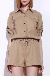 Fashionable Shirt Collar Solid Color Drawstring Waist Romper For Women -
