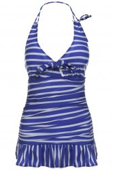 Stripe Halter Neck Ruffled One Piece Swimwear
