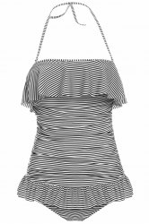 Vintage Halterneck Ruffles Stripe One Piece Women's Swimsuit