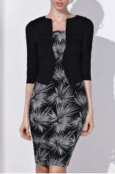 OL Style Round Neck 3/4 Sleeve Printed Faux Twinset Women's Dress -