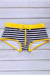 Lace Up Color Block Stripe Sexy Sports Style Men's Swimming Trunks - YELLOW