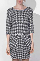 Chic Round Collar Houndstooth Printed 3/4 Sleeve Dress For Women - BLACK
