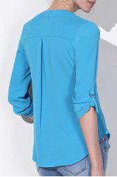 Casual V-Neck Solid Color Long Sleeve Gauze Blouse For Women