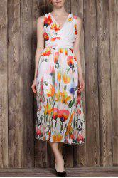 V-Neck Sleeveless Tropical Floral Maxi Dress - COLORMIX S