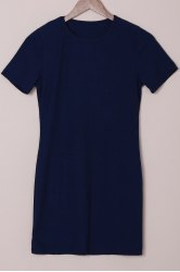 Brief Round Collar Purplish Blue Short Sleeve Dress For Women