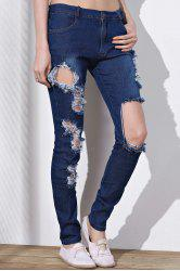 Cut Out Frayed Knee Jeans - BLUE