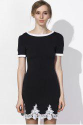 Fresh Style Jewel Neck Lace Spliced Hem Short Sleeve Dress For Women - BLACK