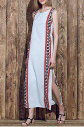 Bohemian Jewel Neck Sleeveless Tribal Print High Slit Women's Dress - COLORMIX