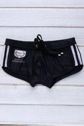 Color Block Logo Pattern Design Lace-Up Boxer Swimming Trunks For Men - BLACK