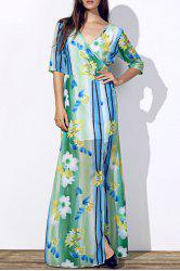 Sexy Colorful Printed Plunging Neck High Slit Maxi Dress For Women