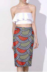 High Waisted Scallop Print Pencil Skirt
