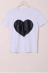 Casual Round Collar Tassel Design Heat Shape Printed T-Shirt For Women -
