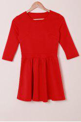 Sweet Jewel Neck 3/4 Sleeve Solid Color High Waist Pleated Mini Dress For Women -