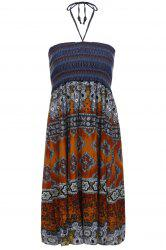 Bohemian Printed Strapless Dress For Women - ORANGE