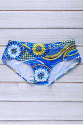 Sports Style Color Block Printed Sexy Men's Swimming Trunks - AZURE