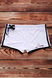 Lace Up Solid Color Sexy Sports Style Men's Swimming Trunks - WHITE