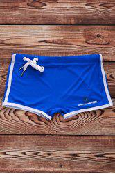 Lace Up Solid Color Sexy Sports Style Men's Swimming Trunks - BLUE