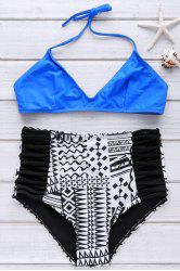 Stylish Spaghetti Strap High Waist Printed Bikini Set For Women