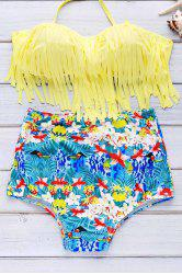Halter Print High Waist Bikini Set With Fringe Top -