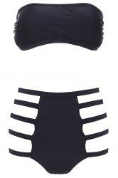 Strapless High Waisted Cut Out Bandeau Bikini Set - BLACK S